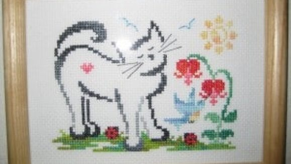 framing cross stitch image