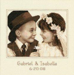 wedding cross stitch sampler image