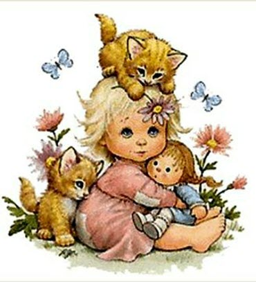 Little Girl with Two Kittens