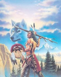 A native native indian warrior spirited by the wolf