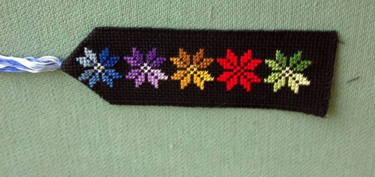 cross stitched bookmarks
